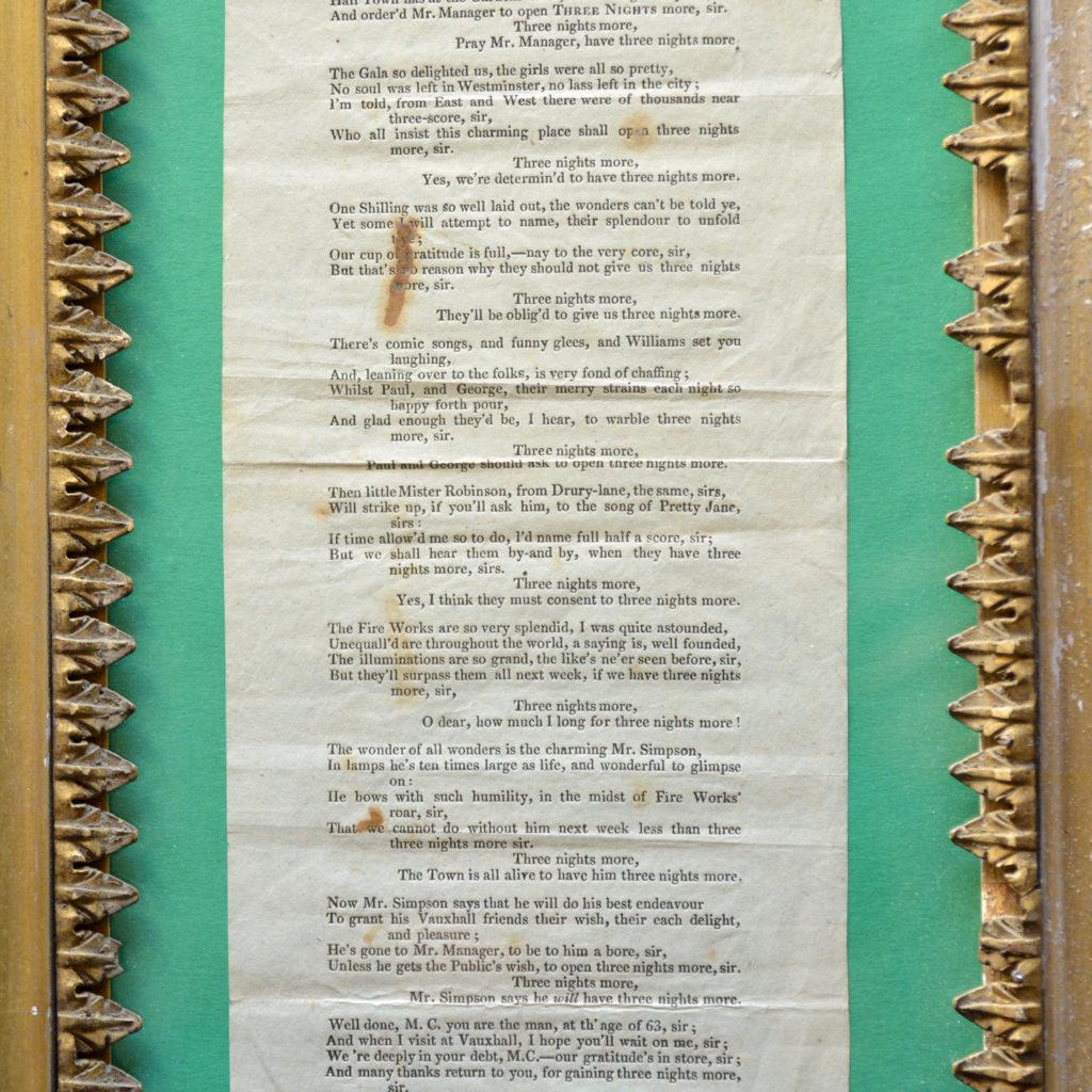 A framed handbill for Vauxhall Gardens Centenary Jubilee,-85868