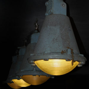 A series of factory pendant lights by Holophane-0