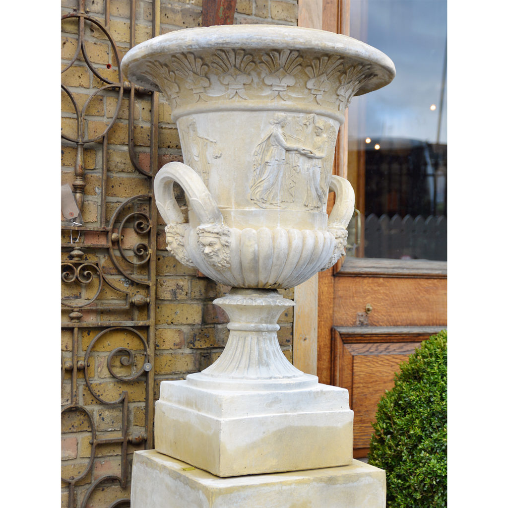 An English reconstituted stone Campana urn,-86509