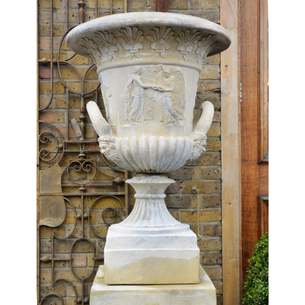 An English reconstituted stone Campana urn,-86508