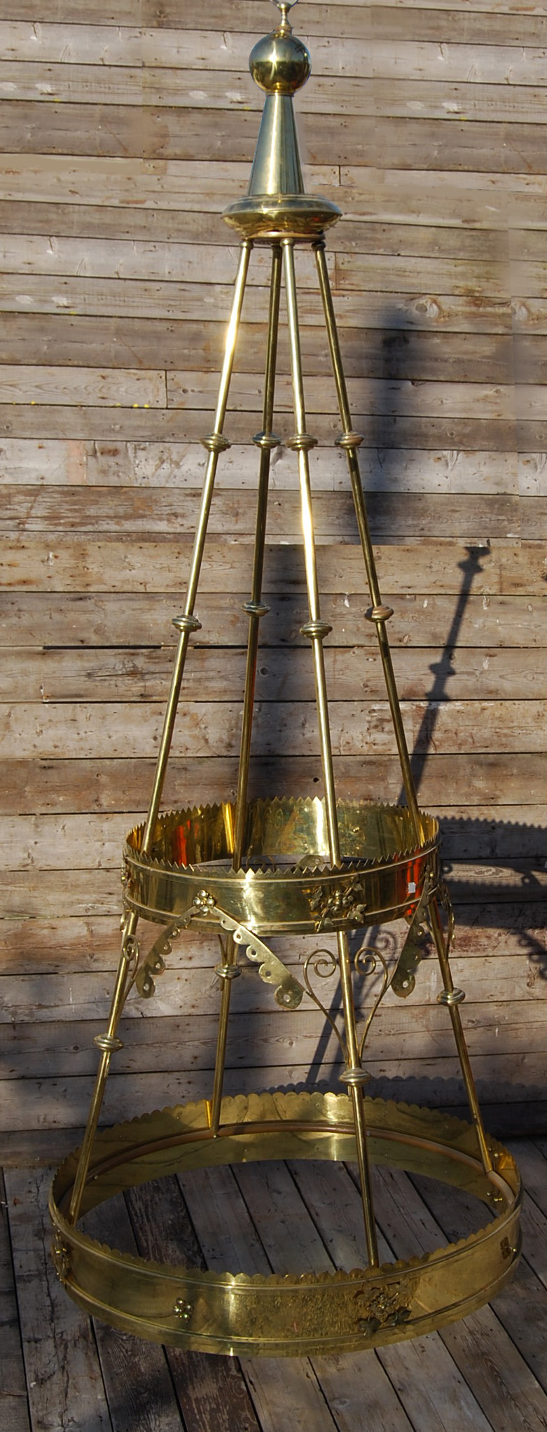 A pair of very large brass corona light fittings,-0
