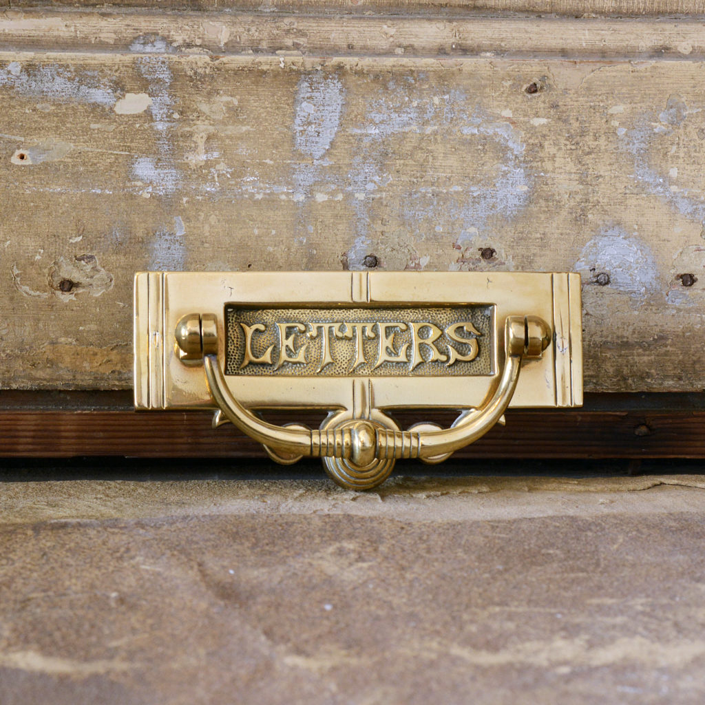 Victorian brass letterplate, -95318