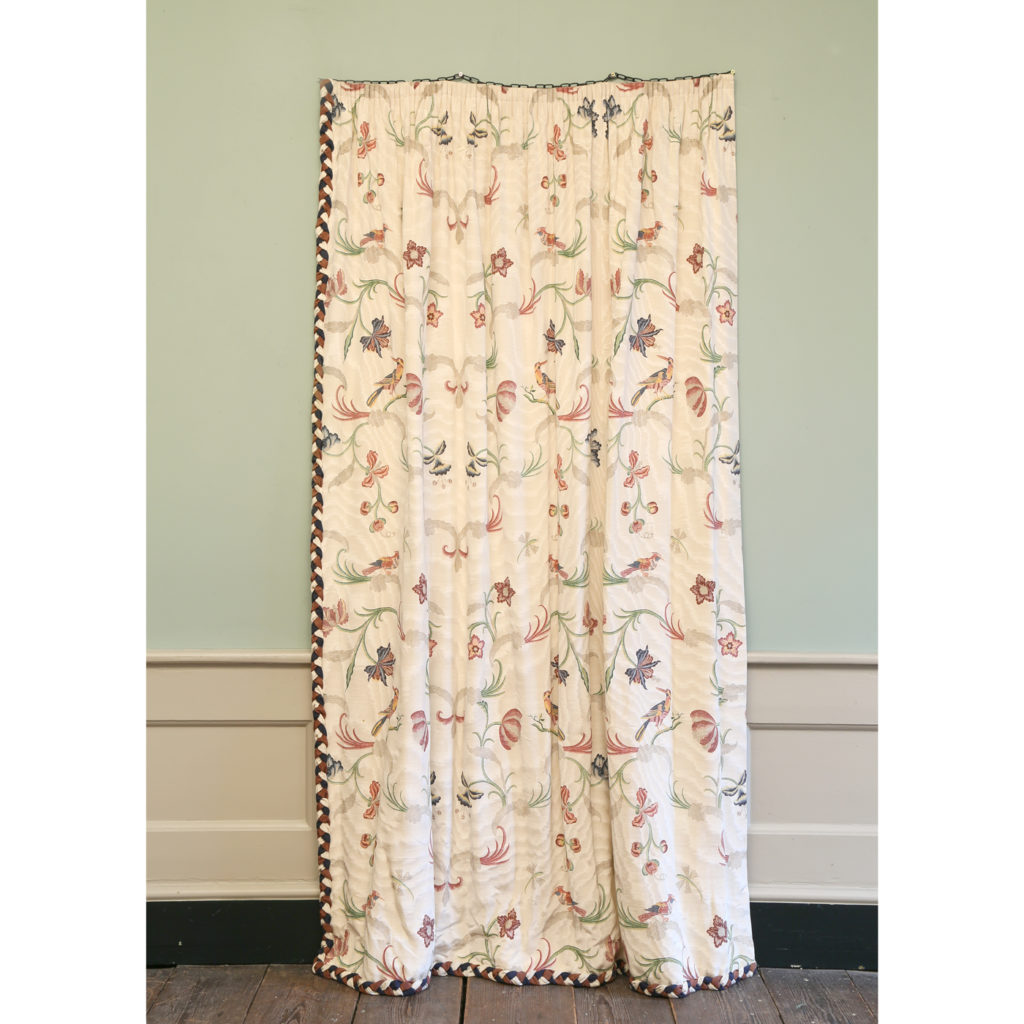 One pair of printed silk twill curtains,-86987