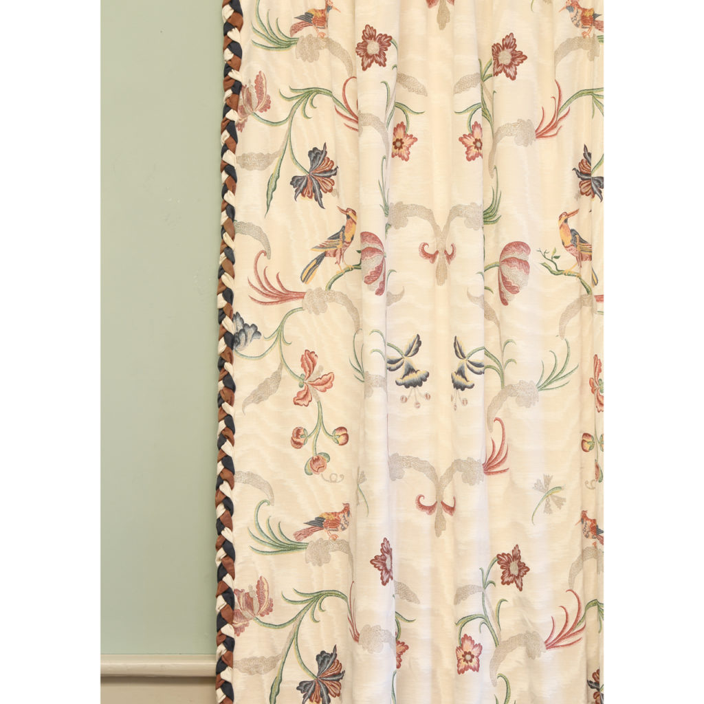 One pair of printed silk twill curtains,-86984