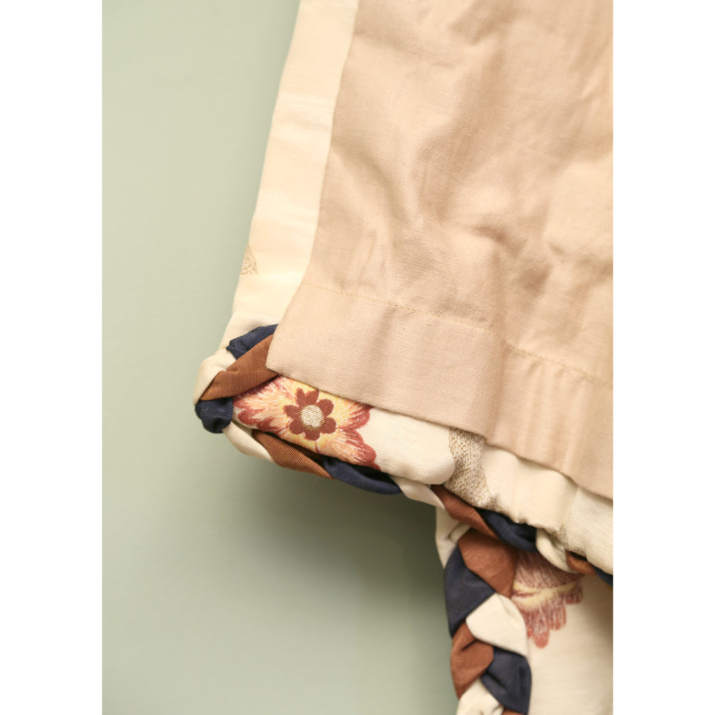 One pair of printed silk twill curtains,-86986