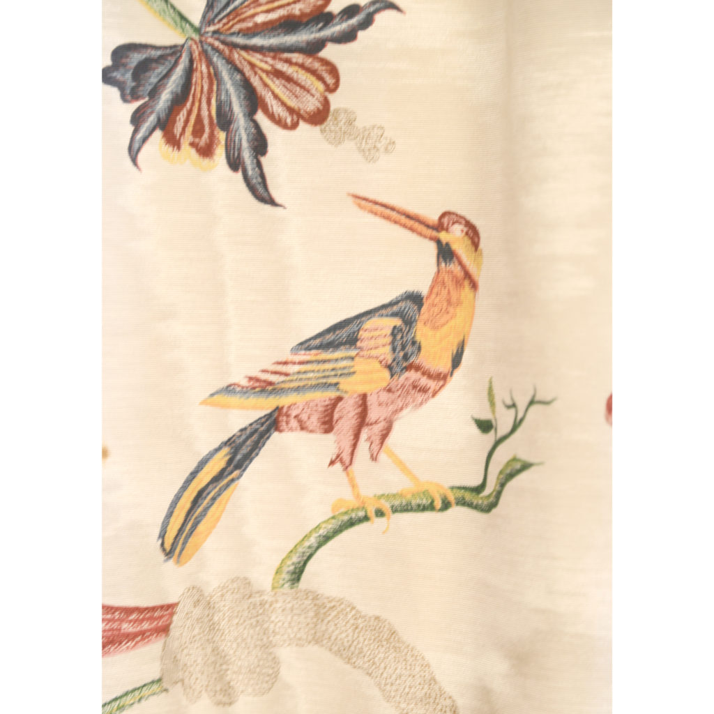One pair of printed silk twill curtains,-86988