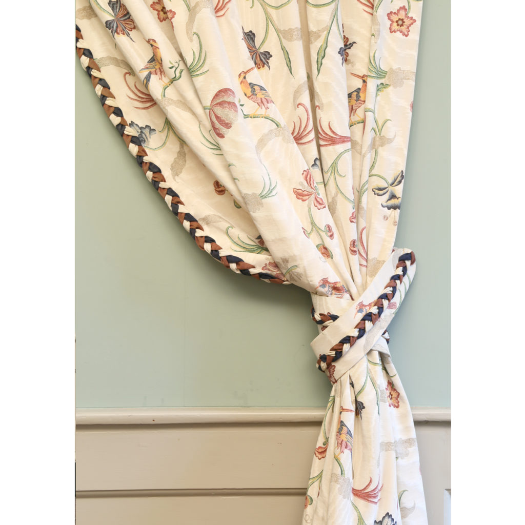 One pair of printed silk twill curtains,-86989