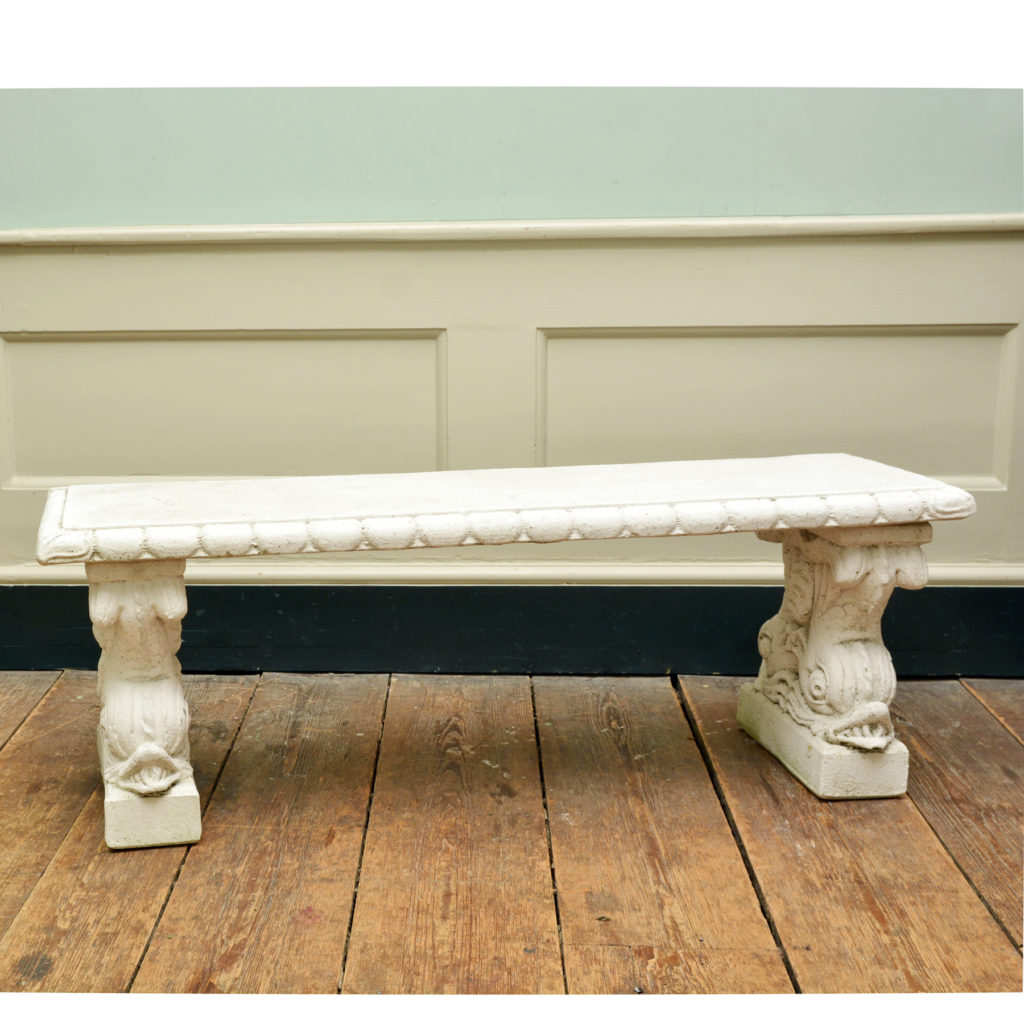 A reconstituted marble garden seat,-0