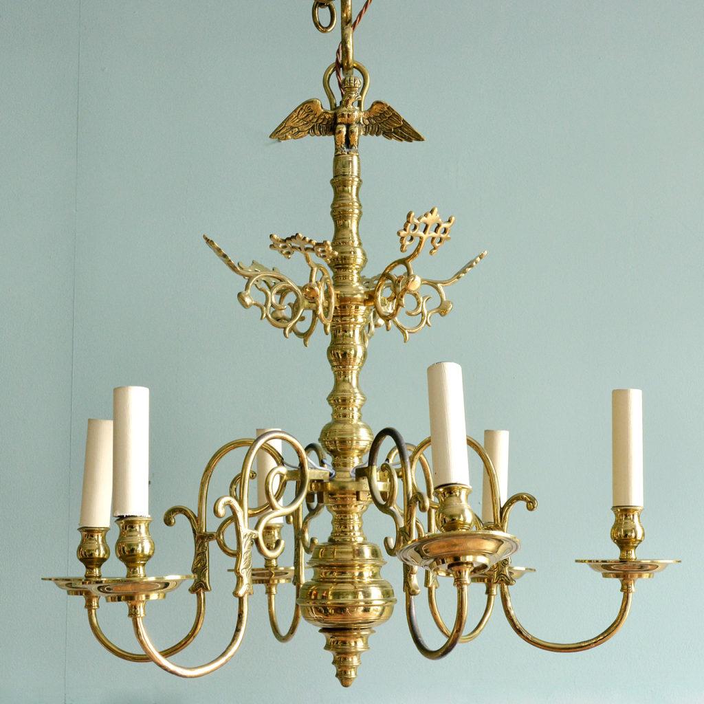 A Dutch style brass six branch chandelier,-0