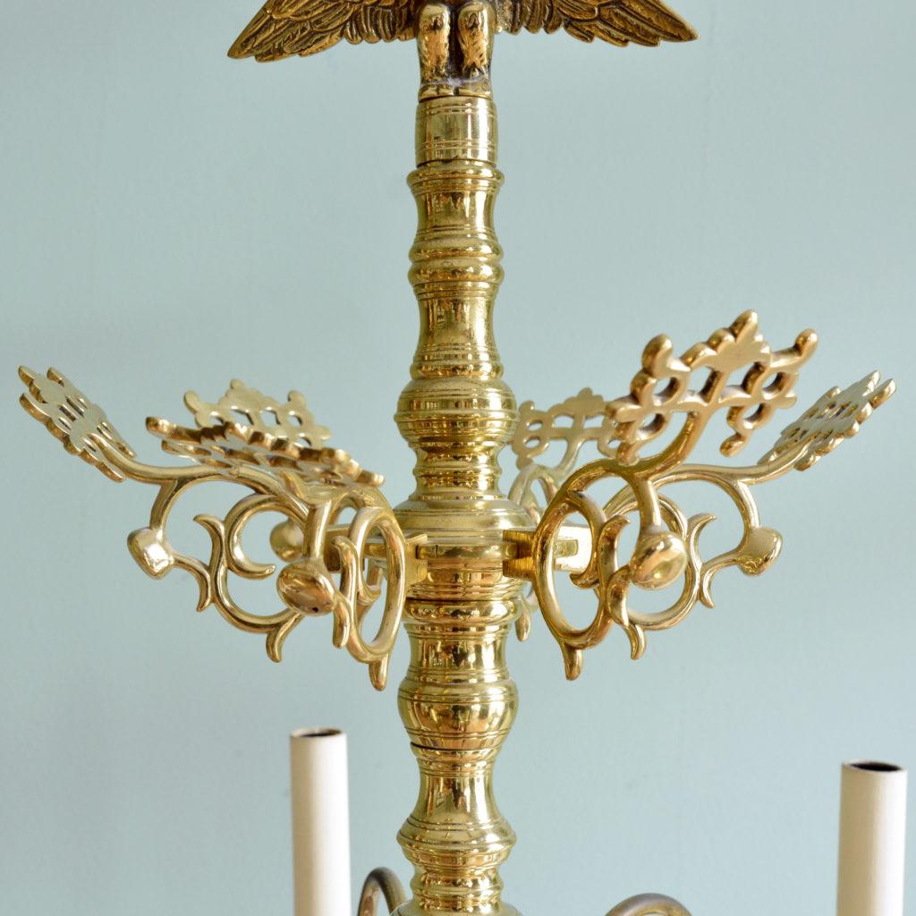 A Dutch style brass six branch chandelier,-88224