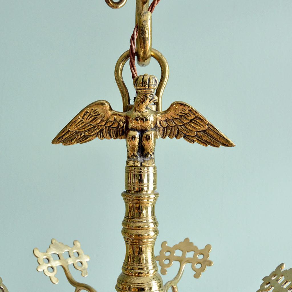 A Dutch style brass six branch chandelier,-88223