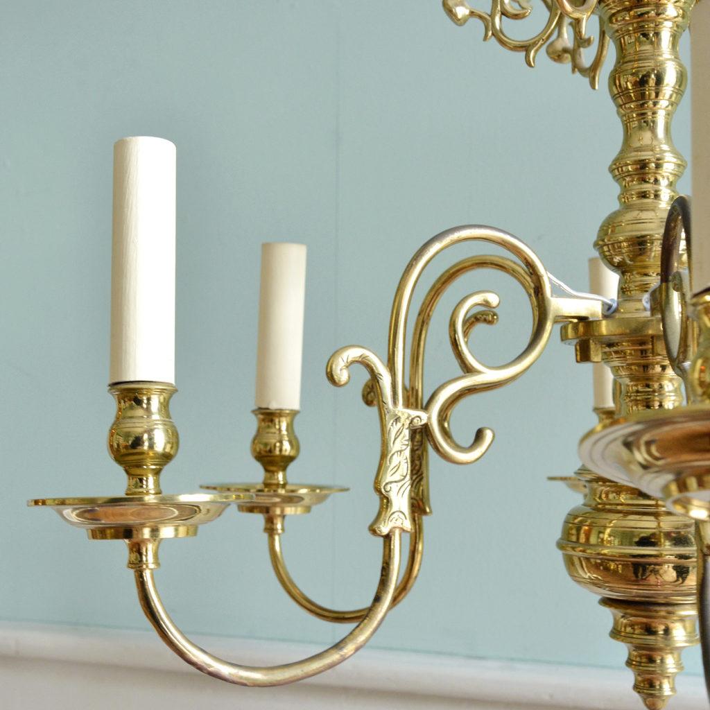 A Dutch style brass six branch chandelier,-88226