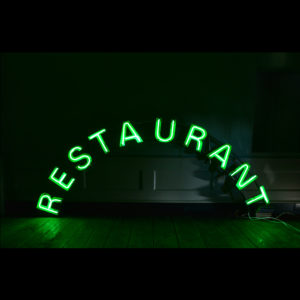 A chrome and neon 'Restaurant' sign,-0