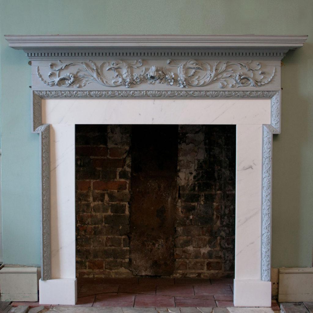 A George III pine chimneypiece,-0