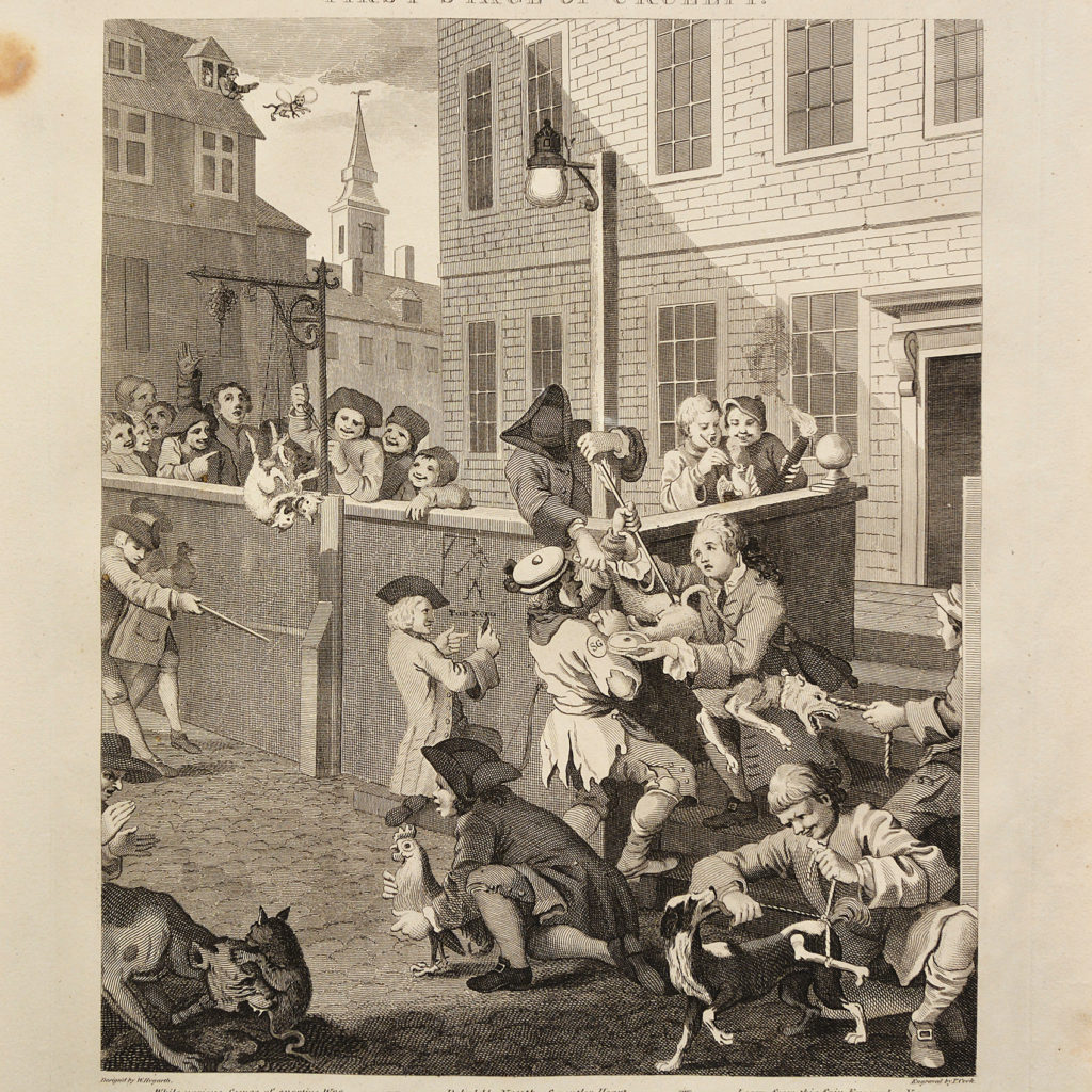 The Four Stages of Cruelty after William Hogarth. A set of four copper-engraved prints-87596