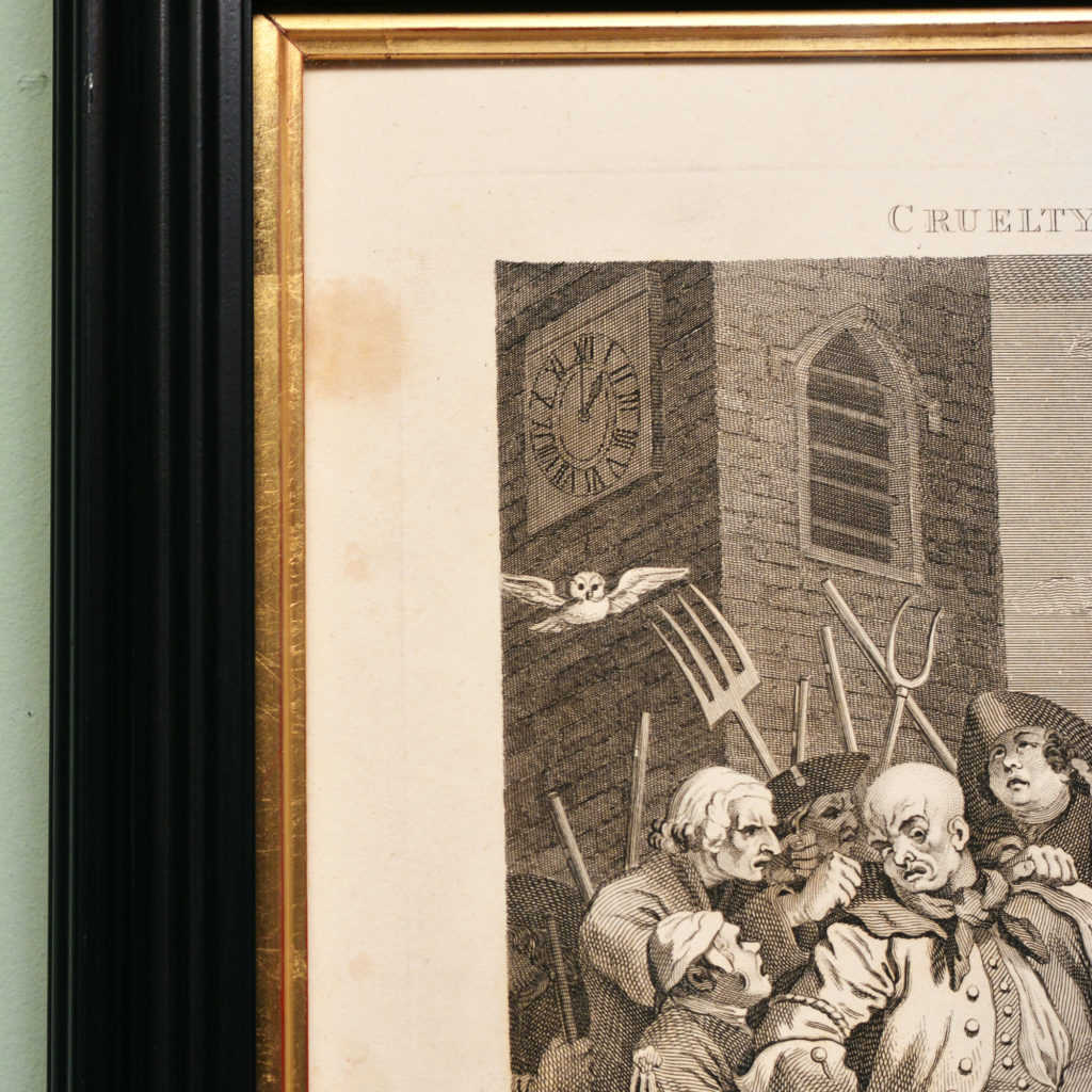 The Four Stages of Cruelty after William Hogarth. A set of four copper-engraved prints-87591