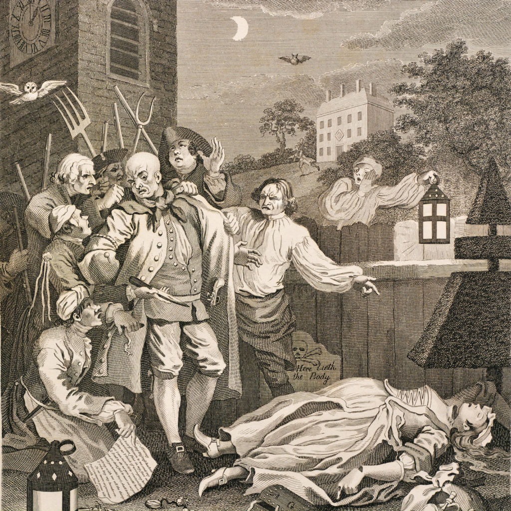 The Four Stages of Cruelty after William Hogarth. A set of four copper-engraved prints-87589