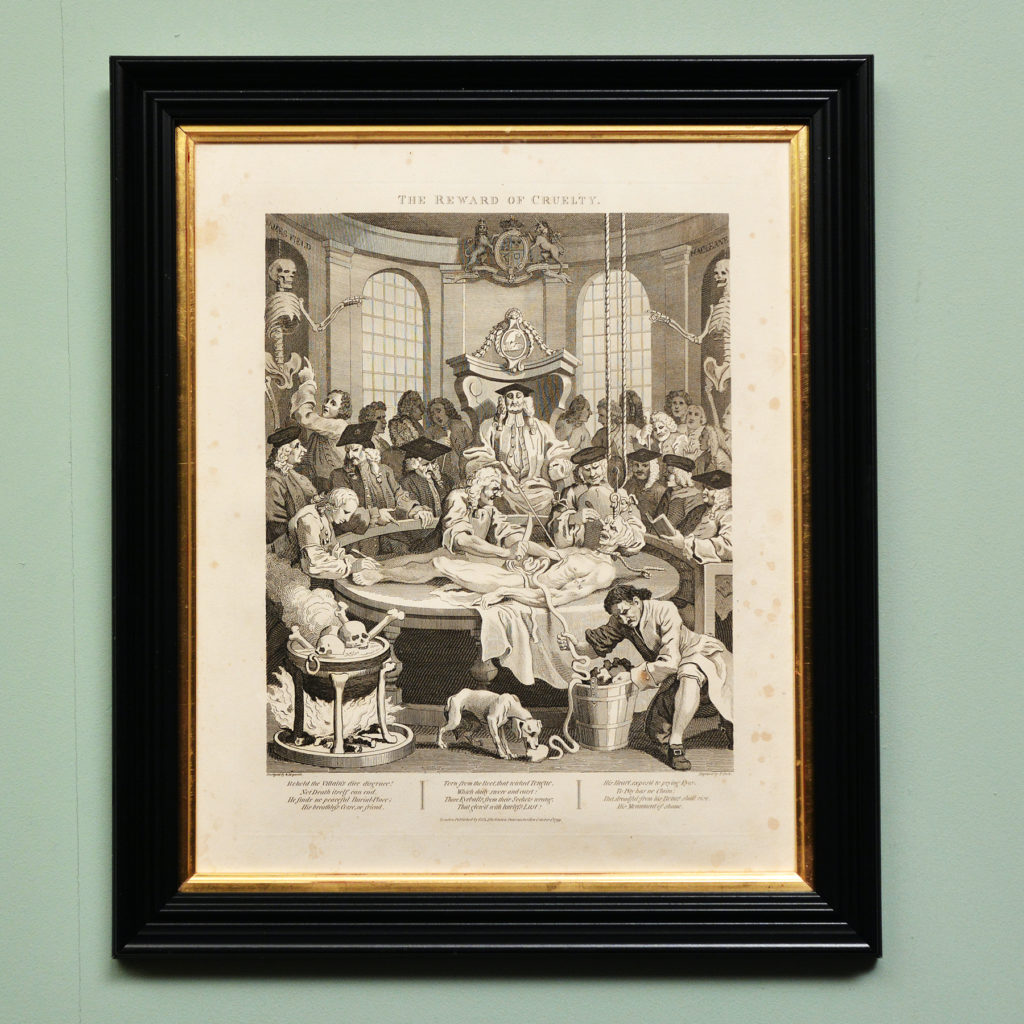 The Four Stages of Cruelty after William Hogarth. A set of four copper-engraved prints-87592
