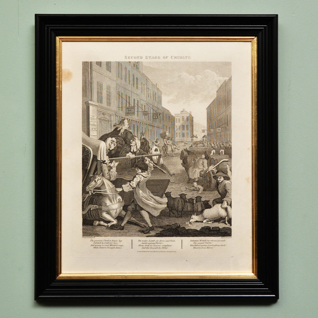 The Four Stages of Cruelty after William Hogarth. A set of four copper-engraved prints-87594