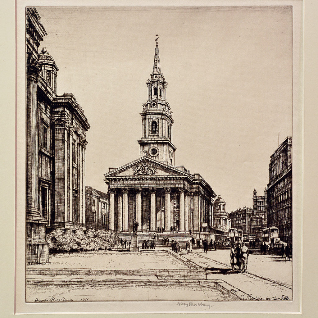 St Martins in the Fields, a framed etching by Henry Rushbury-87740
