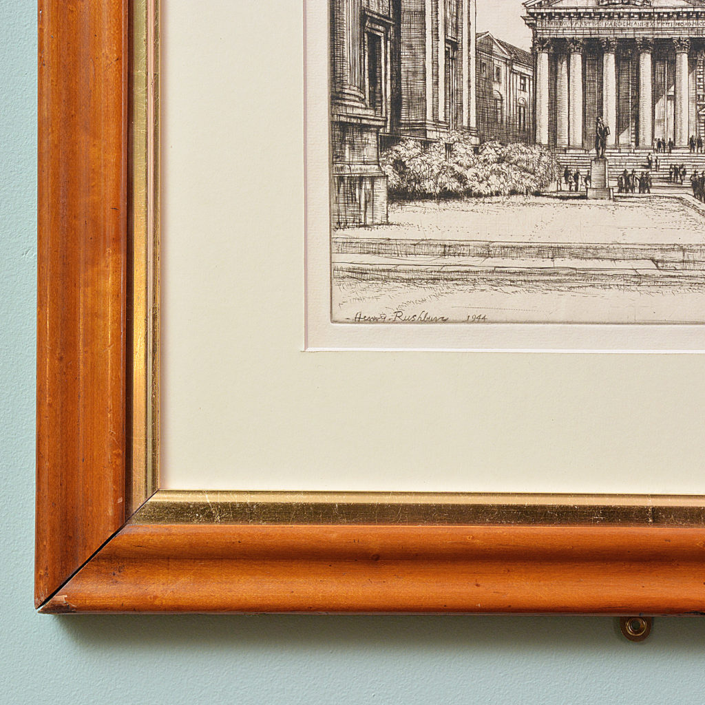 St Martins in the Fields, a framed etching by Henry Rushbury-87742