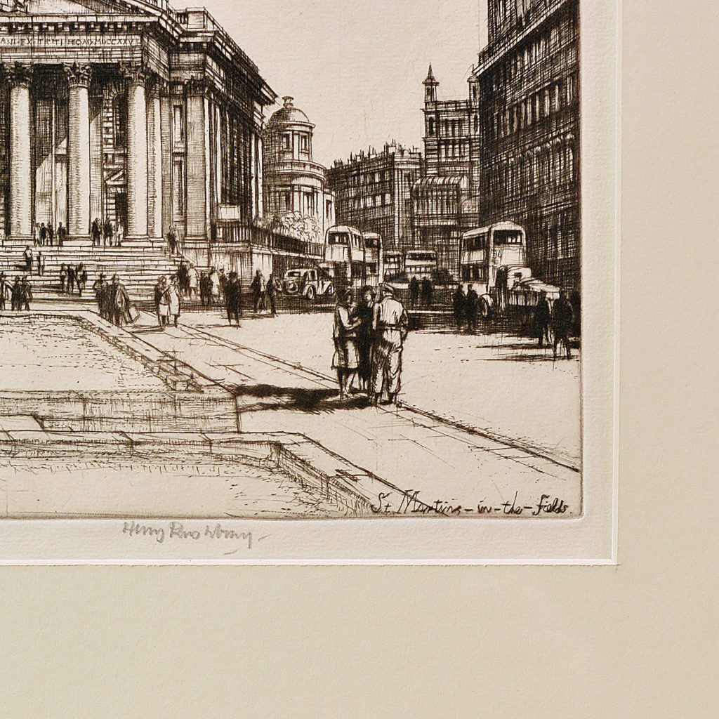 St Martins in the Fields, a framed etching by Henry Rushbury-87741