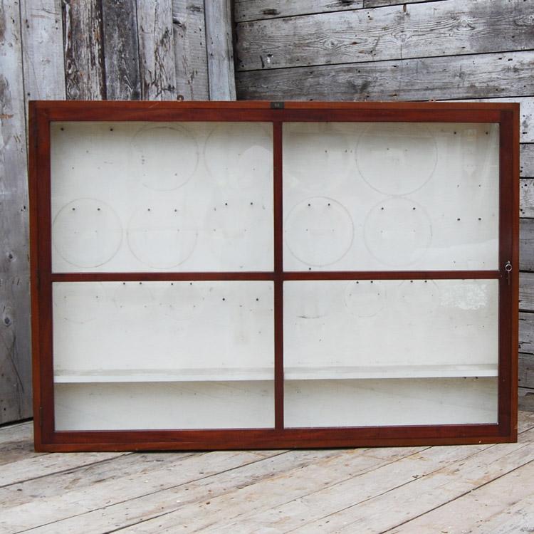 An English glazed mahogany museum wall cabinet,-0