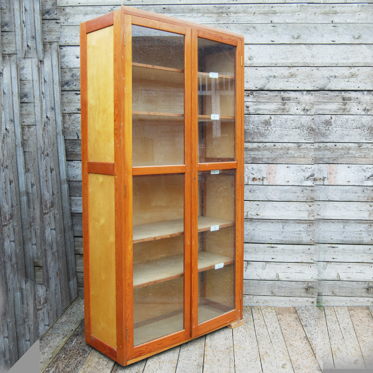 An English glazed douglas fir and birch museum cabinet.-0