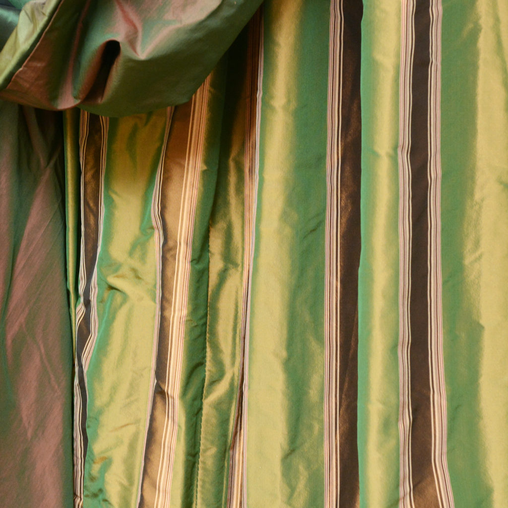 A highly decorative suite of double hung silk curtains,-88416