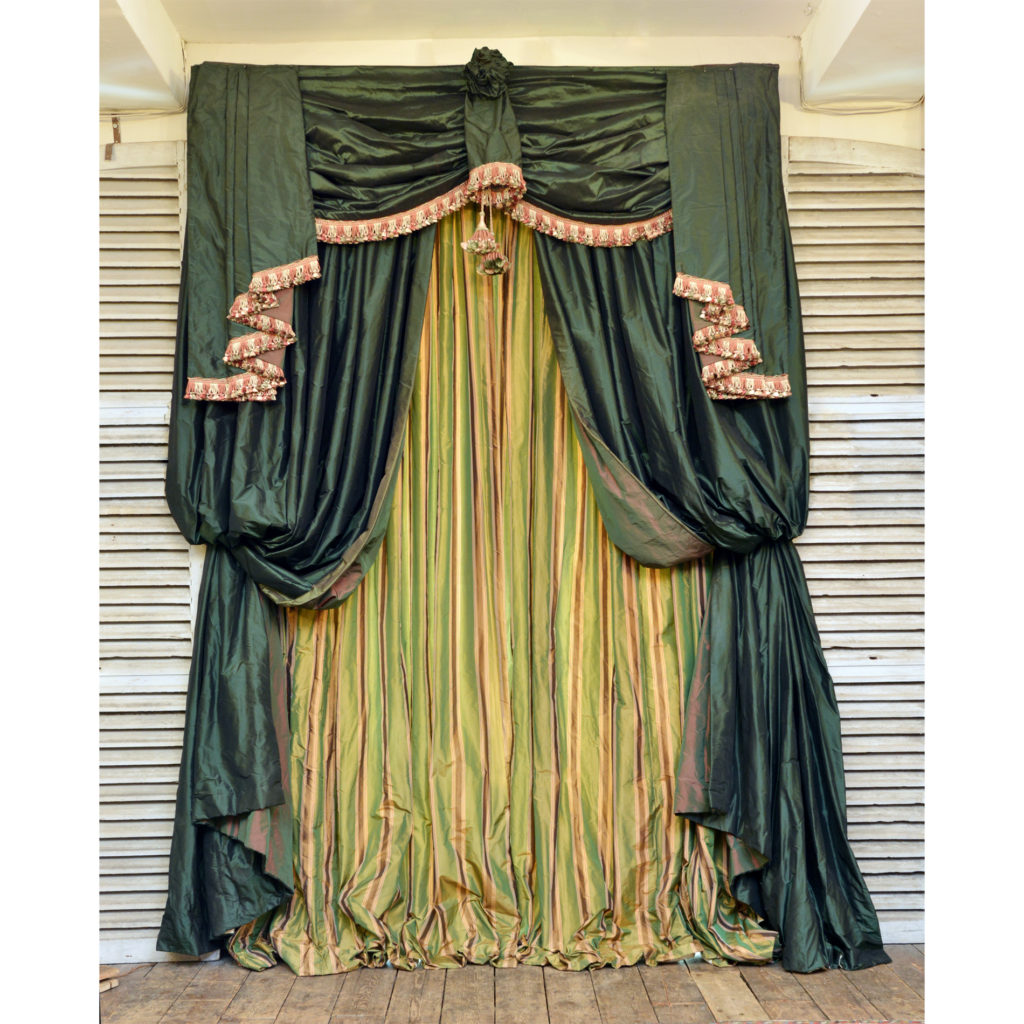 A highly decorative suite of double hung silk curtains,-88418