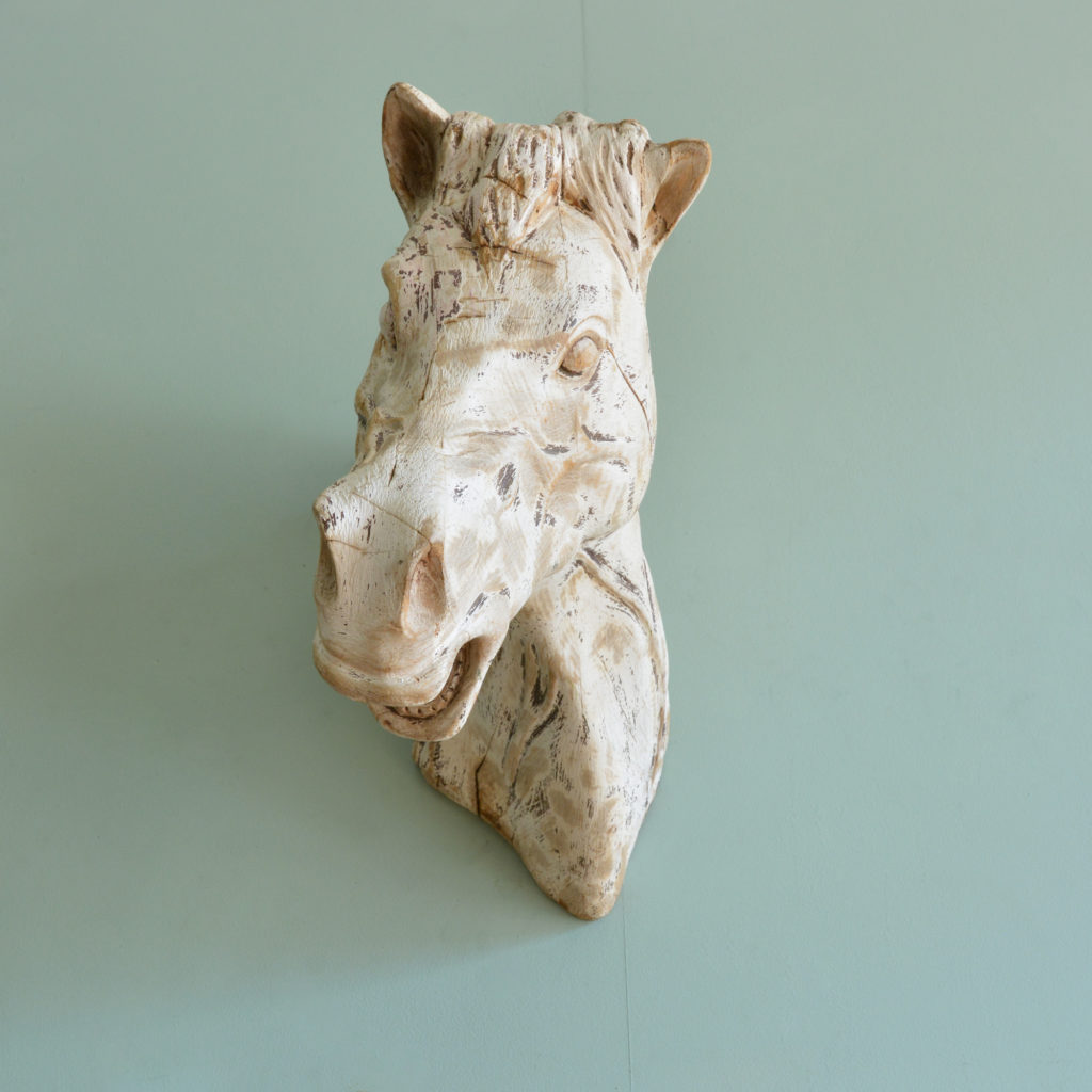A French carved wood horse's head,-88916