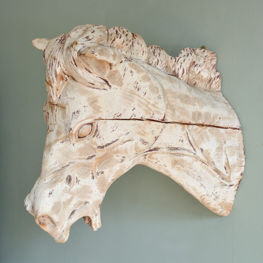 A French carved wood horse's head,-88918