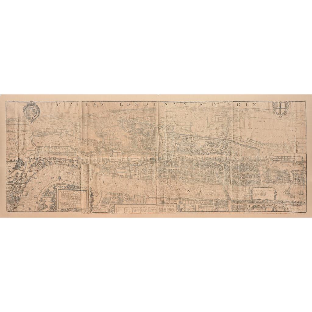 Framed bird's-eye view showing London in 1560,-0