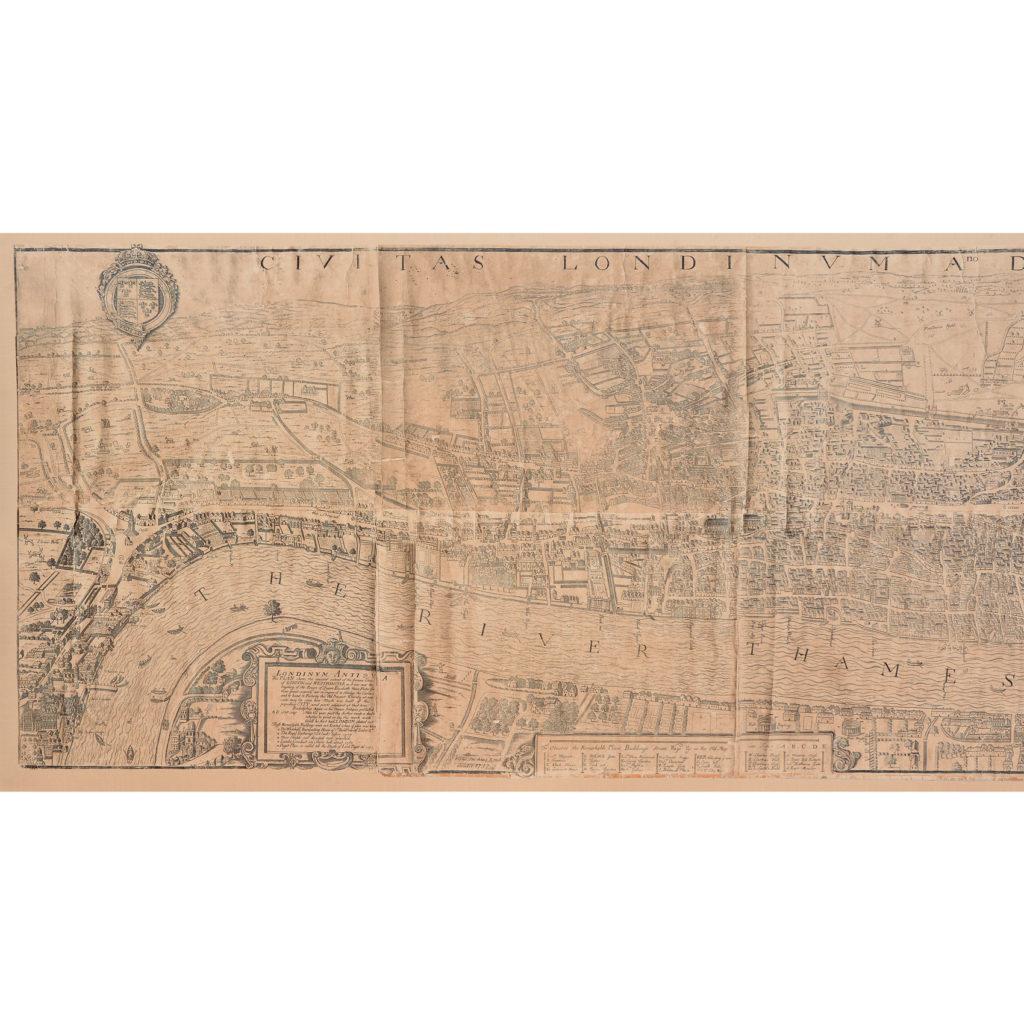 Framed bird's-eye view showing London in 1560,-89235