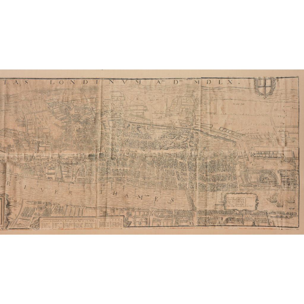 Framed bird's-eye view showing London in 1560,-89238