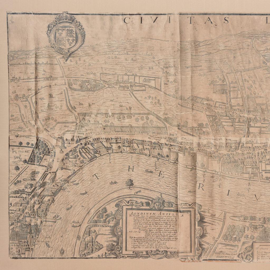 Framed bird's-eye view showing London in 1560,-89236