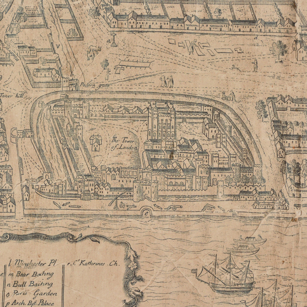 Framed bird's-eye view showing London in 1560,-89237