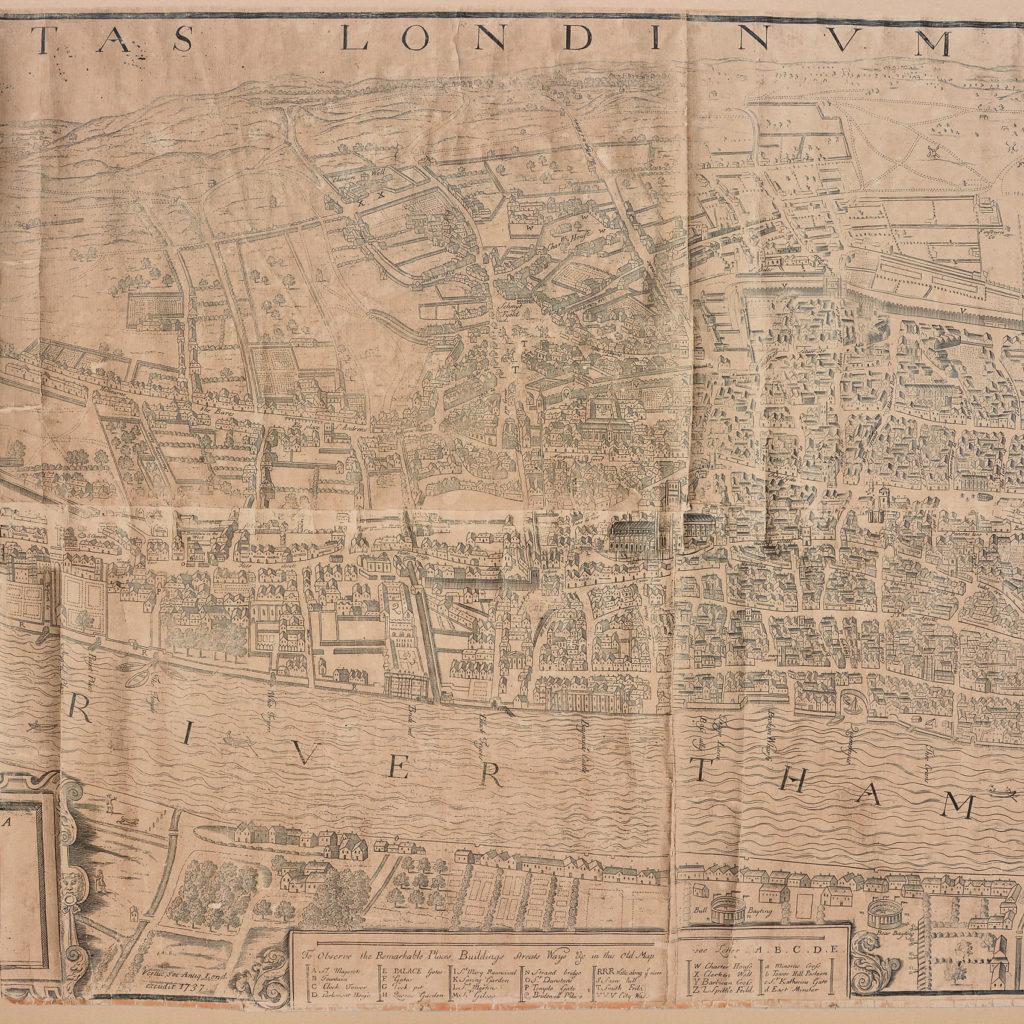 Framed bird's-eye view showing London in 1560,-89244