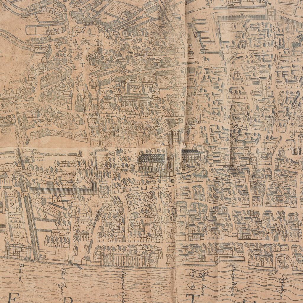 Framed bird's-eye view showing London in 1560,-89239