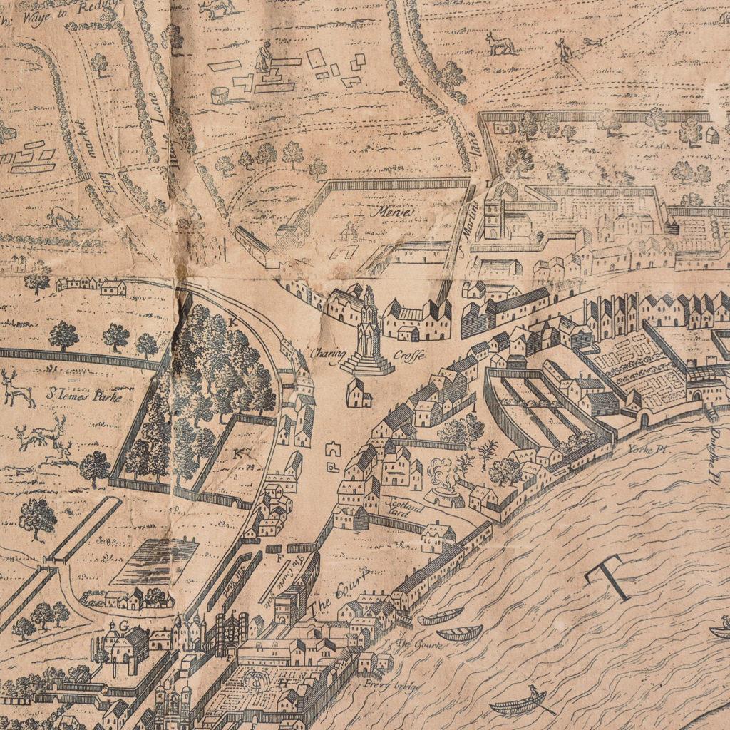 Framed bird's-eye view showing London in 1560,-89241