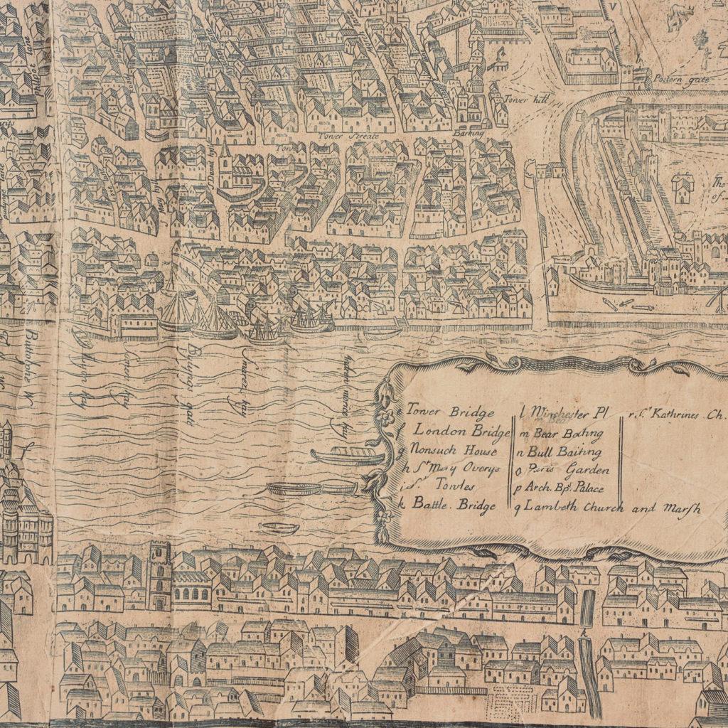 Framed bird's-eye view showing London in 1560,-89242