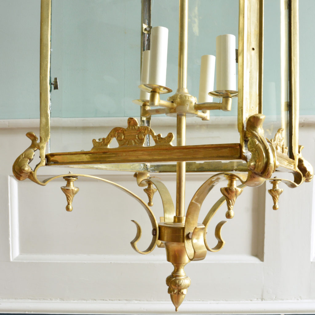 A large decorative brass and bevelled glass hall lantern,-89822