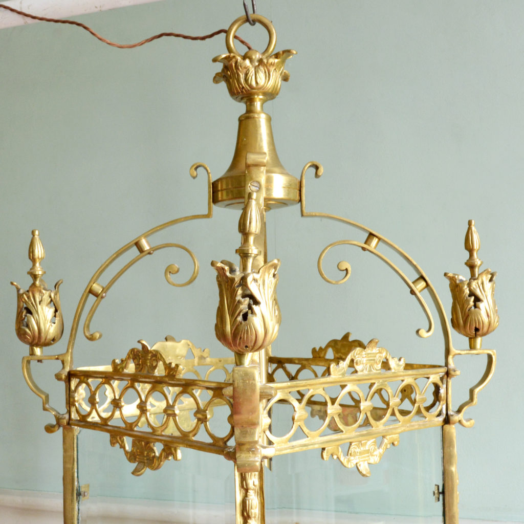 A large decorative brass and bevelled glass hall lantern,-89821