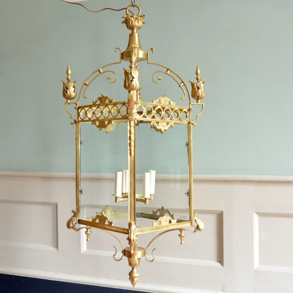 A large decorative brass and bevelled glass hall lantern,-89825