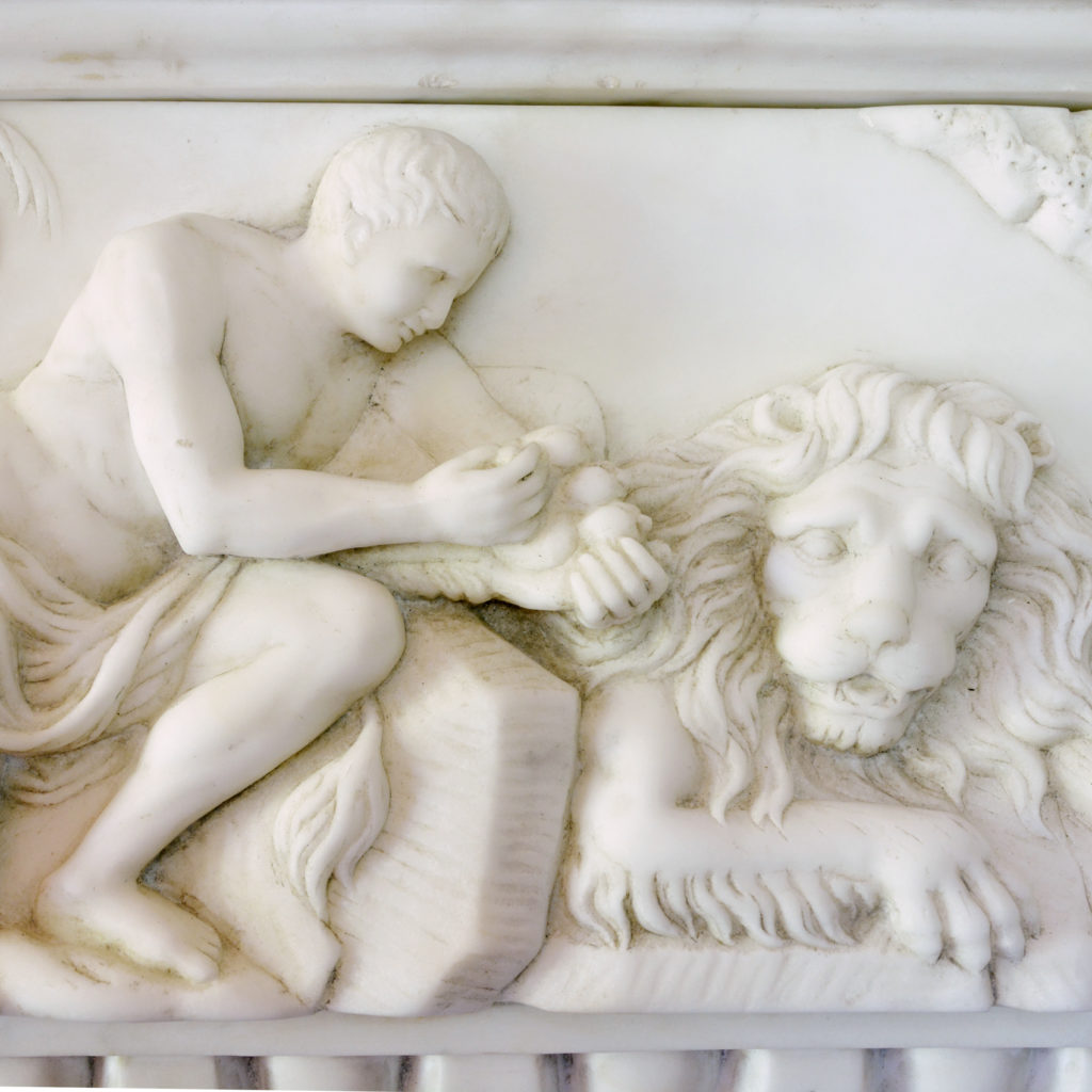 A George II style statuary, sienna and jasper marble chimneypiece,-90725