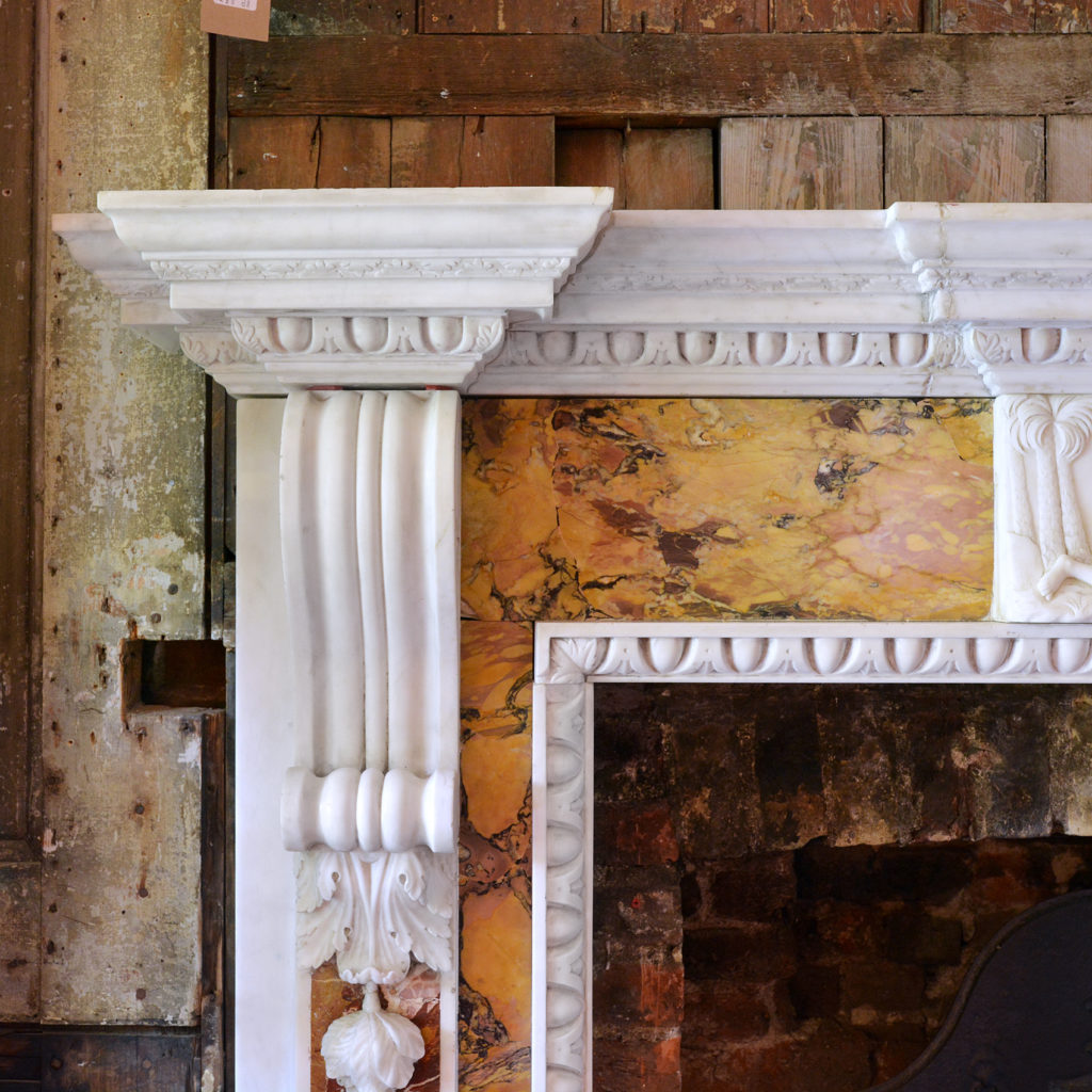 A George II style statuary, sienna and jasper marble chimneypiece,-90720