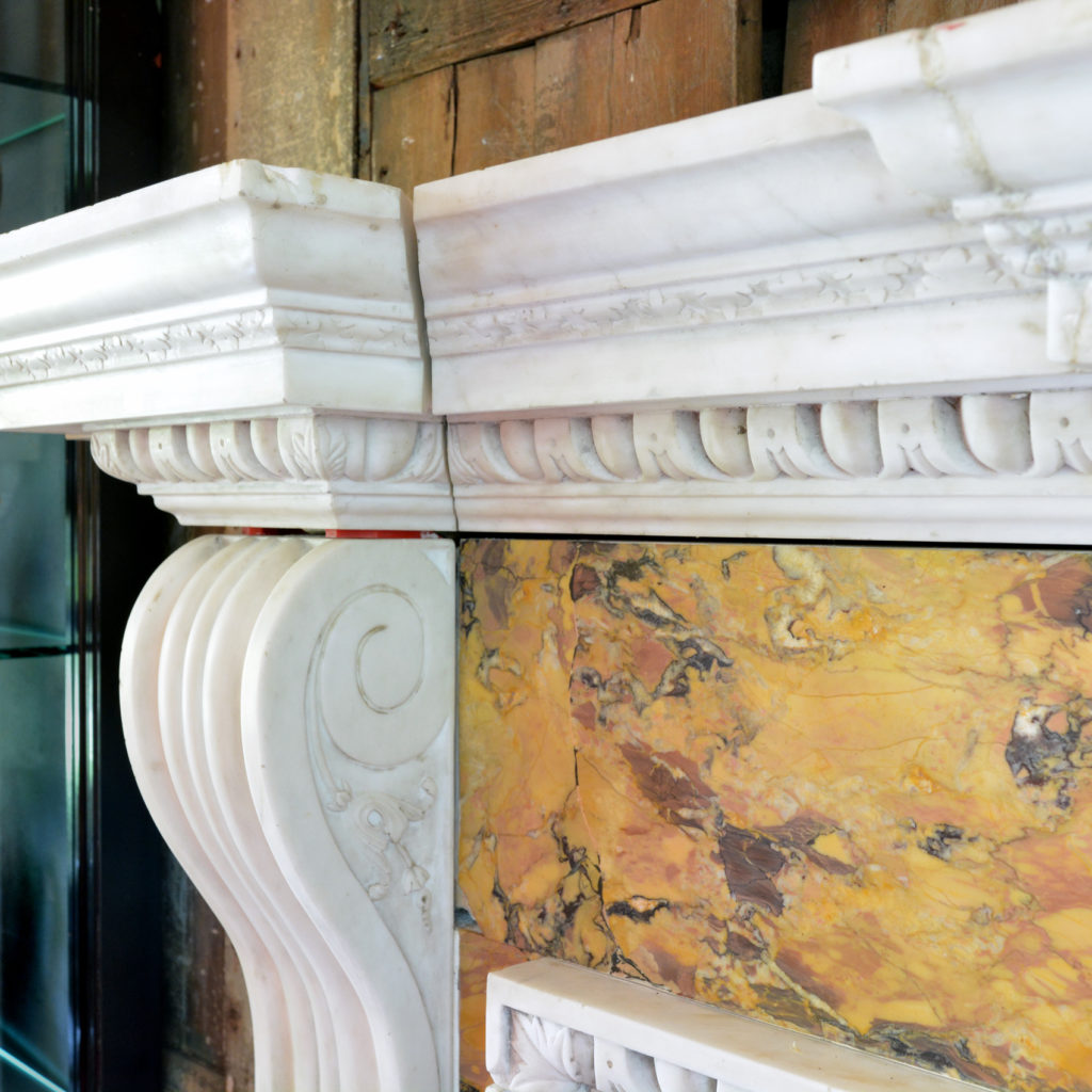 A George II style statuary, sienna and jasper marble chimneypiece,-90721