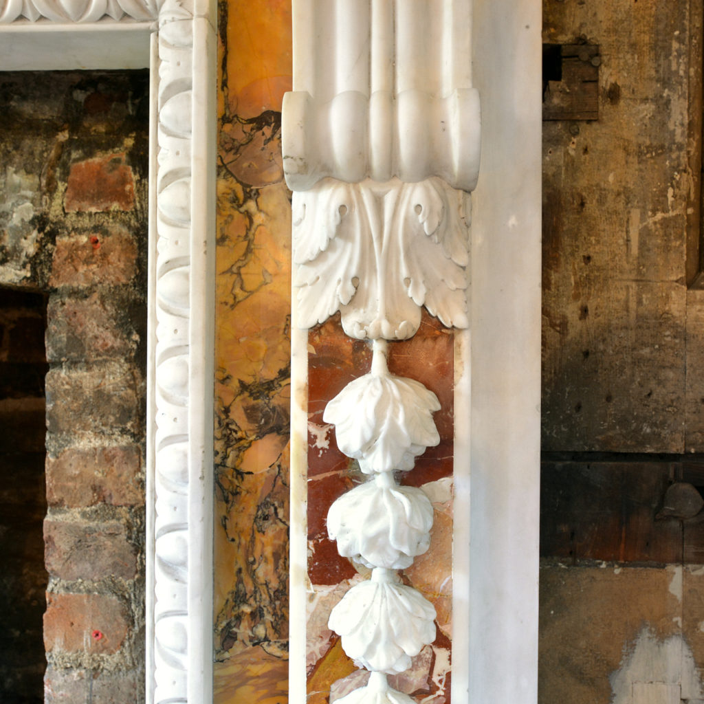A George II style statuary, sienna and jasper marble chimneypiece,-90724