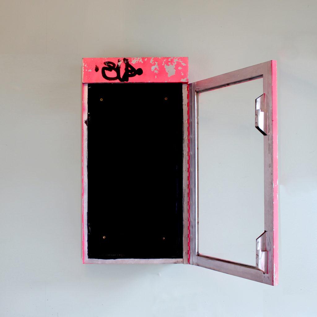 A neon pink illuminated menu board, -91581