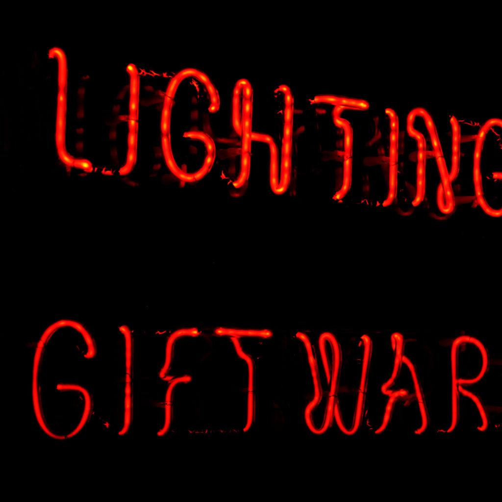 A neon takeaway illuminated signboard, -92940